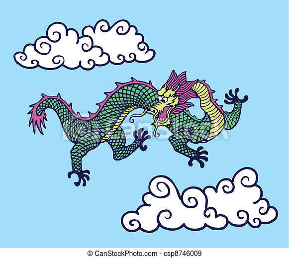 Chinese Cloud Drawings Chinese Dragon Among Clouds