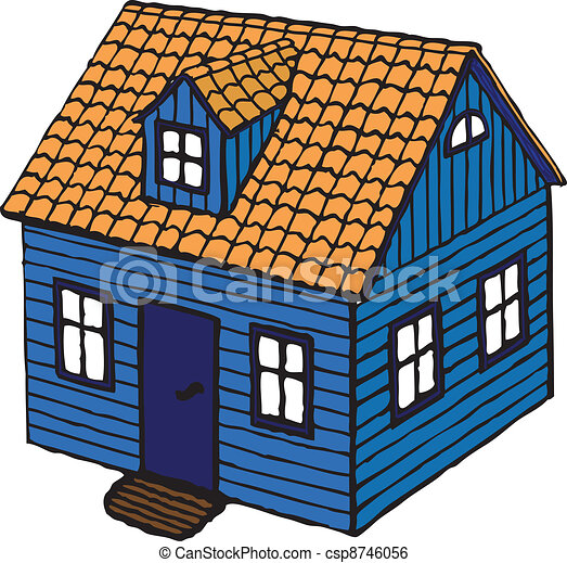 Clip art vector of small house wooden norwegian house for Drawing of small house