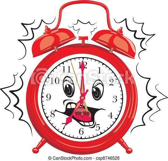 Vector of it`s time to get up - wake up, alarm clock, clock face ...