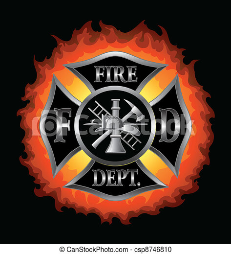 Fire Department Maltese Cross With  - csp8746810