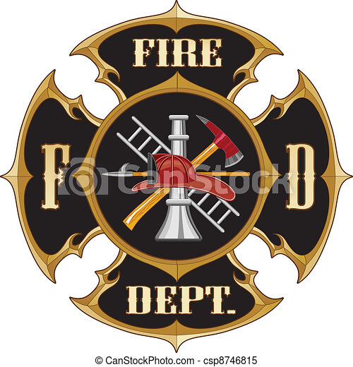 Fire Department Maltese Cross Vinta - csp8746815