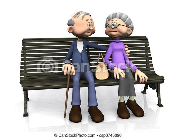 Elderly cartoon couple on bench. - csp8746890