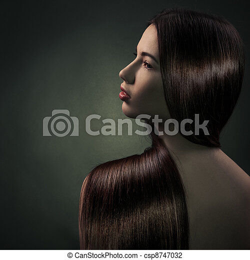 Beautiful Brunette Girl. Healthy Long Hair  - csp8747032
