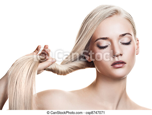 Beautiful Blonde Girl. Healthy Long Hair. Space For Text - csp8747071