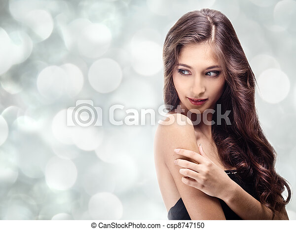 Beautiful Brunette Girl. Healthy Long Hair - csp8747150