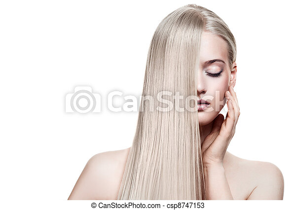 Beautiful Blonde Girl. Healthy Long Hair. Space For Text - csp8747153
