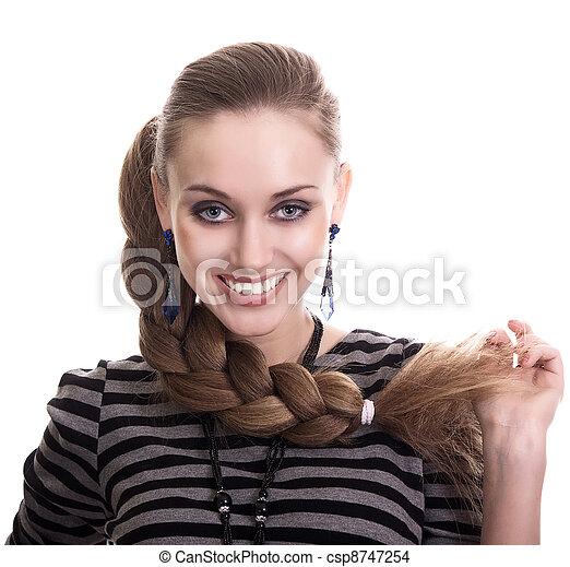 Beautiful Fashion Woman With Beautiful Braid Hair Isolated  - csp8747254