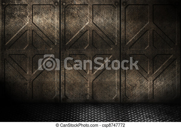 grungy metal industrial plates room  - csp8747772