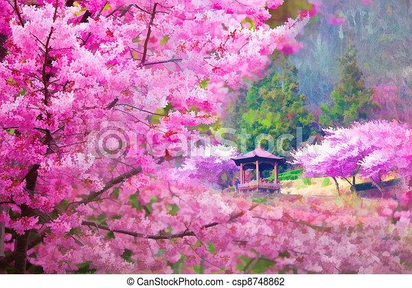Clip art de style peinture paysage peinture style de for Style de peinture