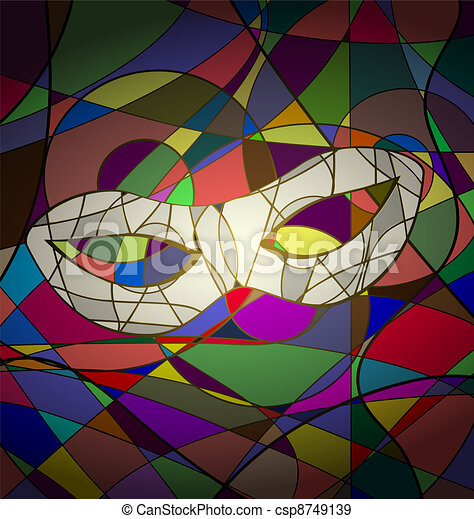 abstract background white carnival mask - csp8749139