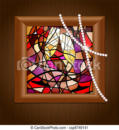 wooden frame and stained glass with champagne - csp8749141