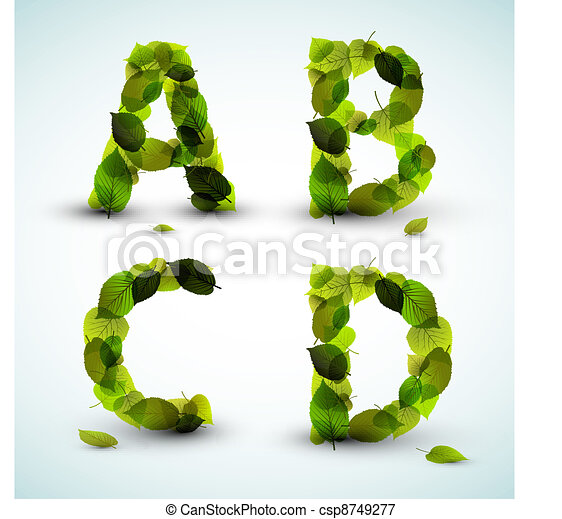 Vector alphabet letters made from leafs - csp8749277