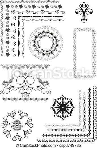 Decorative border, frame of ornamen - csp8749735