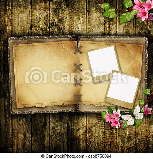 Open blank vintage book on wooden table - csp8750094