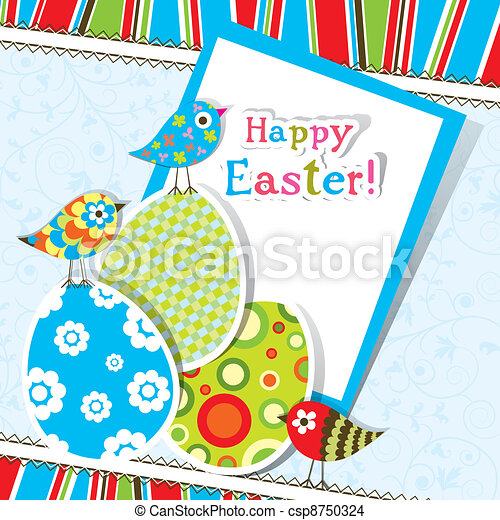 Template Easter greeting card, vector - csp8750324