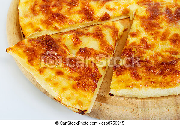pita bread with cheese on a wooden board - csp8750345