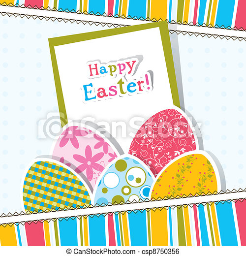 Template Easter greeting card, vector - csp8750356