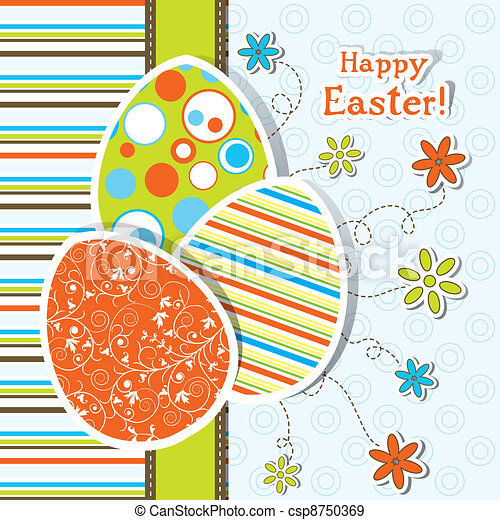 Template Easter greeting card, vector - csp8750369