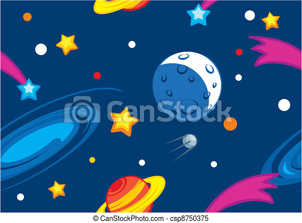 Pattern with planets and stars - csp8750375