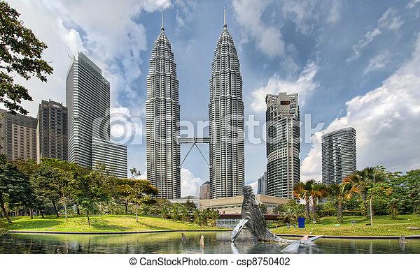 Kuala Lumpur City Skyline from KLCC Park - csp8750402