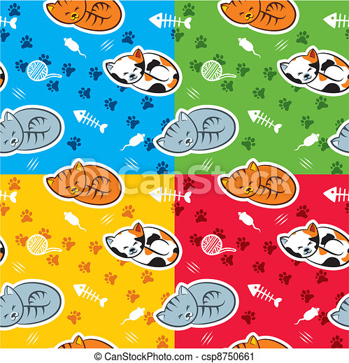 Seamless pattern with cats - csp8750661