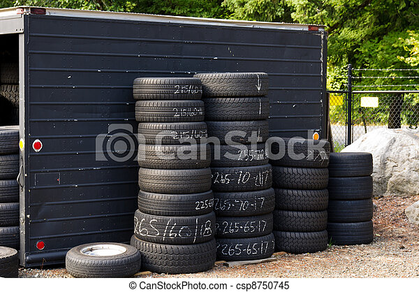Automobile tires stacked ready for use - csp8750745