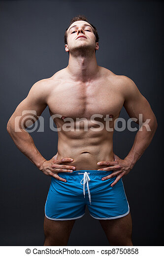 Sexy man with muscular athletic body - csp8750858