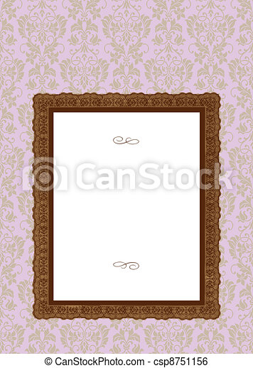 Vector Ornate Pink Background and Frame - csp8751156