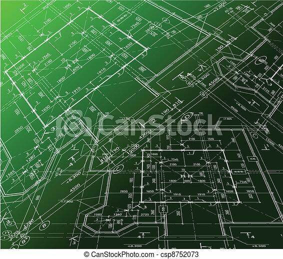House plan on green background. Vector blueprint - csp8752073