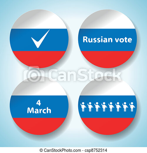 Set of russian presidential election stickers - csp8752314