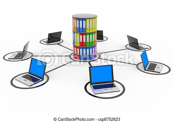 Abstract computer network with laptops and archive or database. - csp8752623