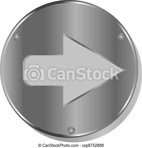 Arrow metallic 3d vibrant round icon - csp8752888