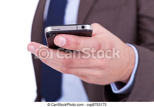 Flat cell phone in businessman hand - csp8753173