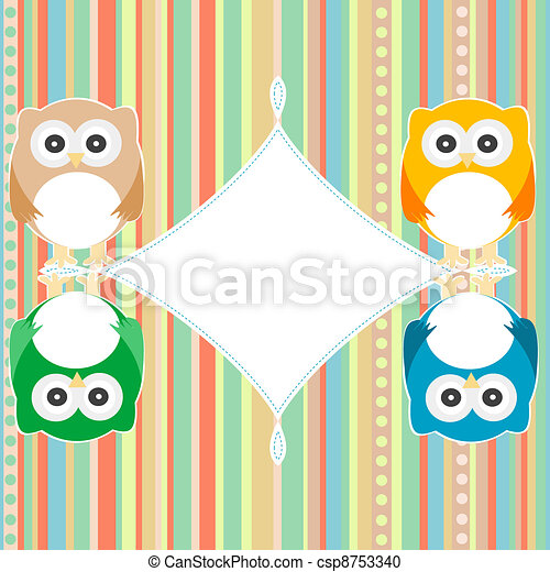 baby owl scrap background. intitation card. vector - csp8753340