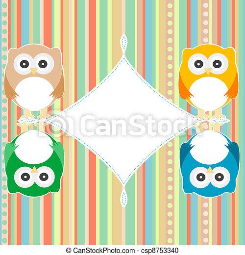 baby owl scrap background. intitation card. vector - csp8753340