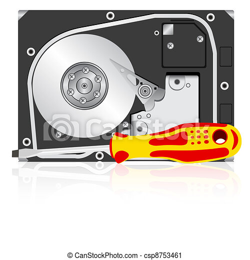 Computer hard disk drive and screwdriver.  - csp8753461