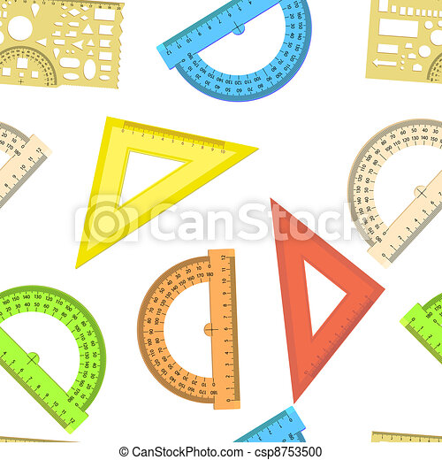 Seamless wallpaper the ruler and protractor line of the triangle vector background - csp8753500