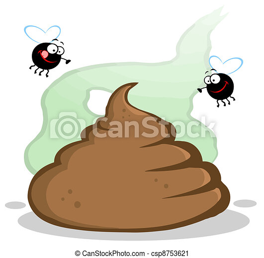 Stinky Pile Of Poop With Two Flies - csp8753621