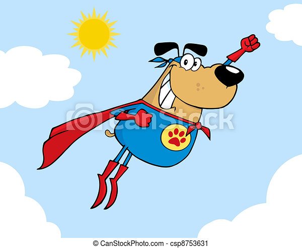 Brown Super Hero Dog Flying In Sky - csp8753631