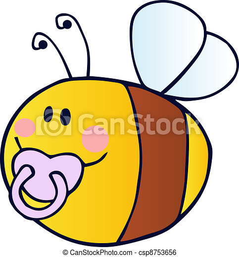 Flying Baby Bee Cartoon Character - csp8753656