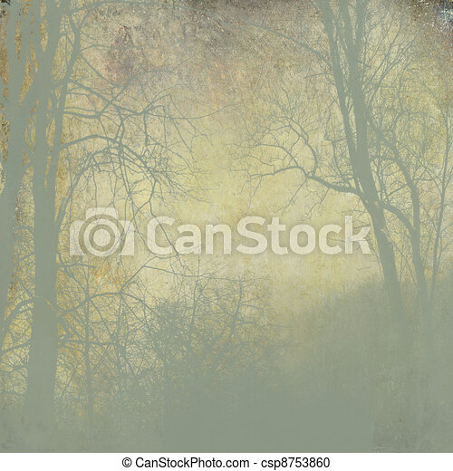 grunge green forest  with fog on golden background - csp8753860