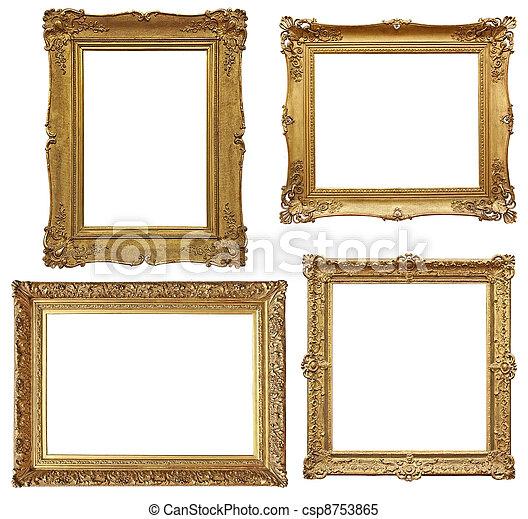 four golden baroque empty frames - csp8753865