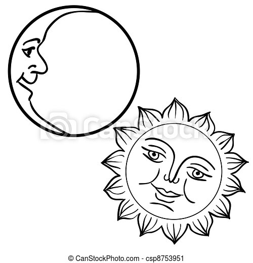Vector illustration of Moon and Sun with faces  - csp8753951