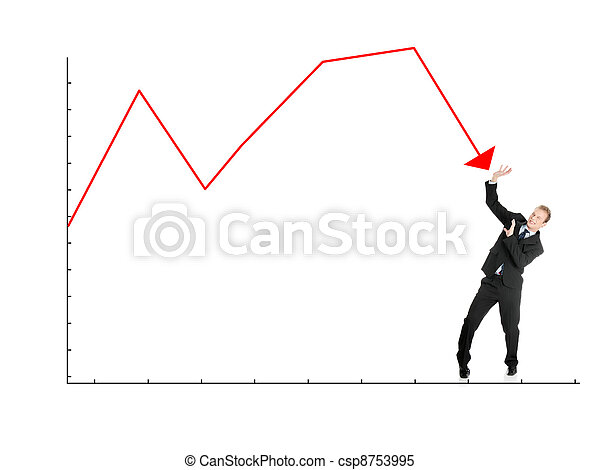 Scared businessman defend himself from falling graph - csp8753995
