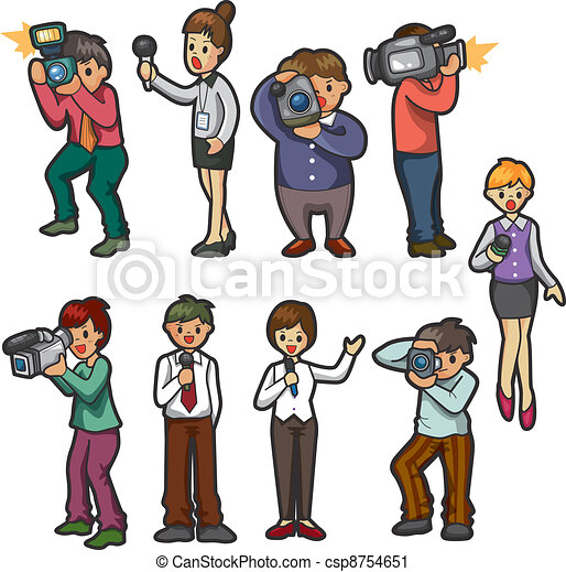 Vector Clip Art of set of reporter people csp8754651 - Search ...