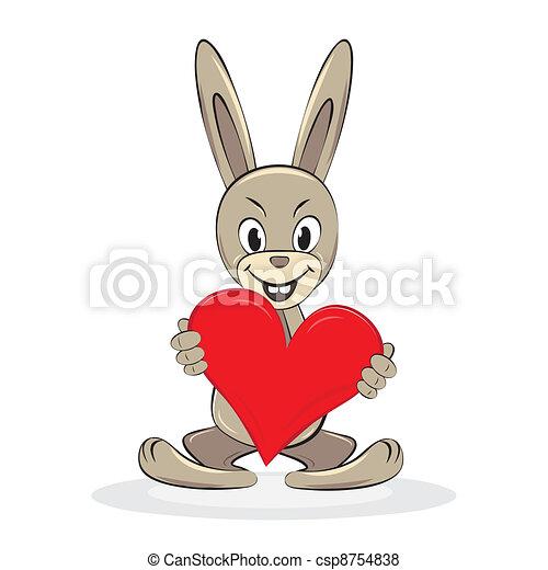 Cartoon funny rabbit holds big red heart - csp8754838