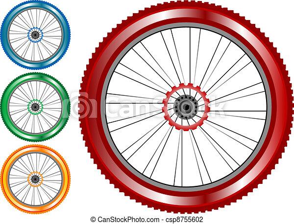 セット, 有色人種, 自転車, 車輪 ...