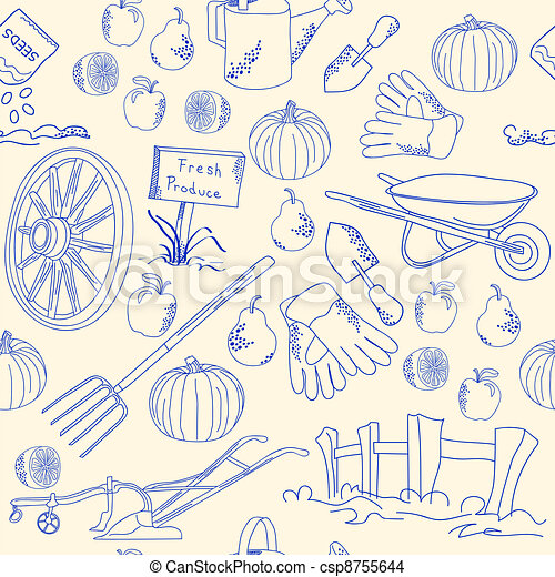 Hand Drawn Seamless Garden Icon Set - csp8755644