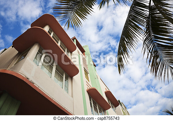 Colorful art deco architecture of Miami Beach - csp8755743