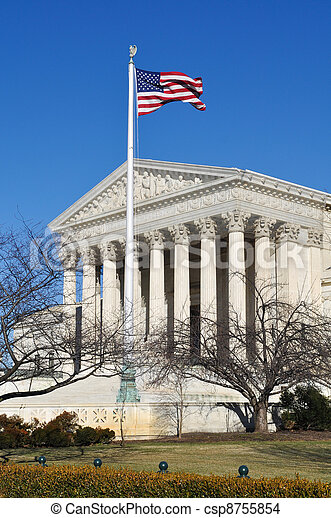 US Supreme Court Building with United States Flag - csp8755854